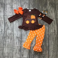 Fall Winter Baby Girls Halloween Outifits Children Pumpkin In The Car Halloween Party Clothes Polka Dot