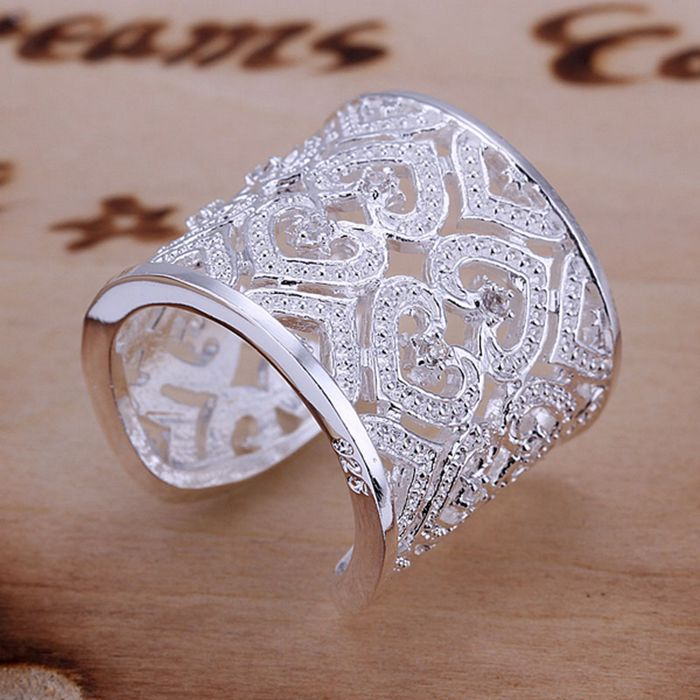 silver plated ring, 925 jewelry 925 jewelry silver plated fashion jewelry, Insets Multi Heart Ring SMTR106
