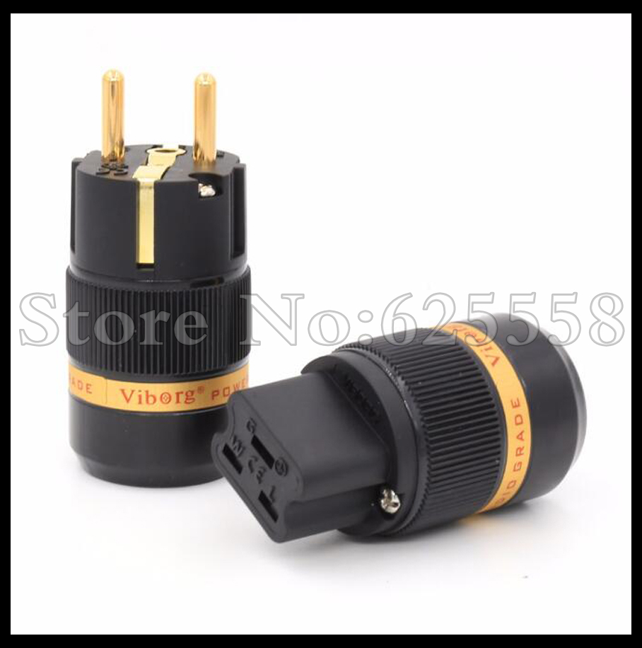 99.999% viborg Audio 1pairX Hifi  Red Copper 24K gold plated EU  power Plug + 20A IEC Female Connector extension adapter viborg audio 8pcs rhodium gold plated rca socket phono chassis female hifi amp