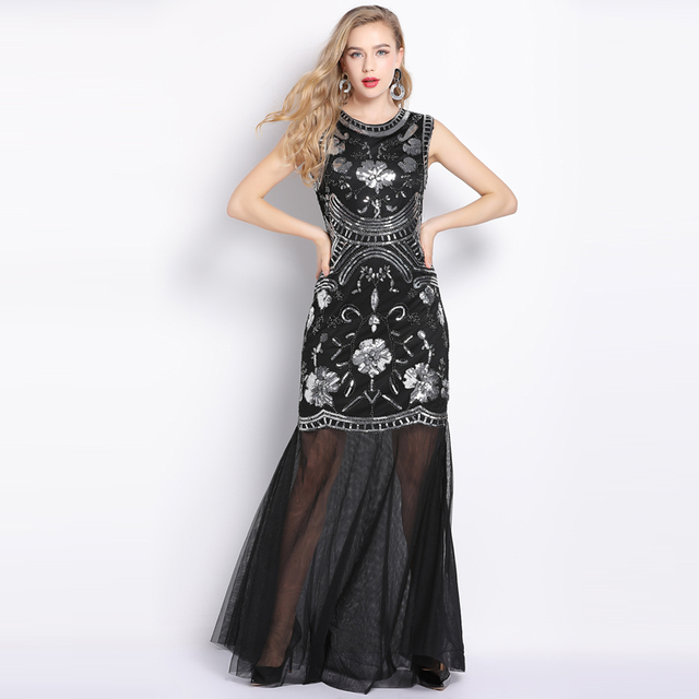 39e1aadcb6 Vintage 1920s Flapper Dress Long Robe Vestido Embroidery Floral Sequin Beaded  Party Dress Women Sheer Mesh Maxi Formal Dress
