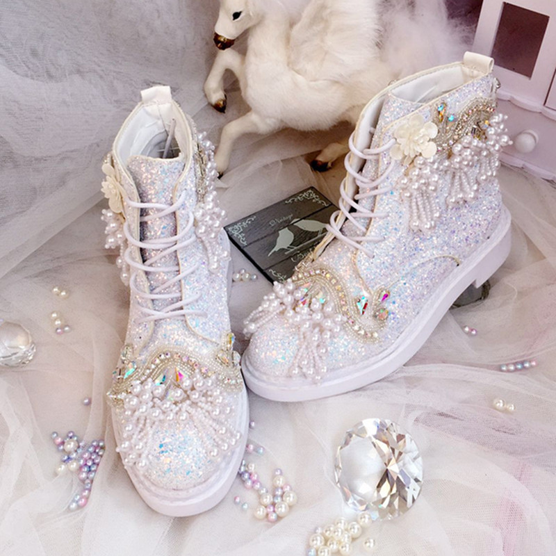 Luxury Shoes Wedding Boots For Bride Personized Princess Sequins Pearls Sweet Lady Autumn Winter Crystal Colorful