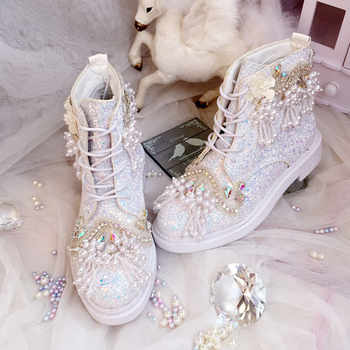 Luxury Shoes Wedding Boots For Bride Personized Princess Sequins Pearls Sweet Lady Autumn Winter Crystal Colorful Bling Shoes - DISCOUNT ITEM  38% OFF All Category