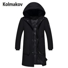 KOLMAKOV 2017 new winter high quality men's fashion solid color hooded down jacket,50% white duck down coats long warm parkas