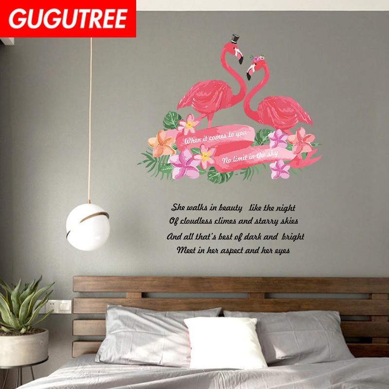 Decorate flamingo bird letter art wall sticker decoration Decals mural painting Removable Decor Wallpaper LF 1857 in Wall Stickers from Home Garden