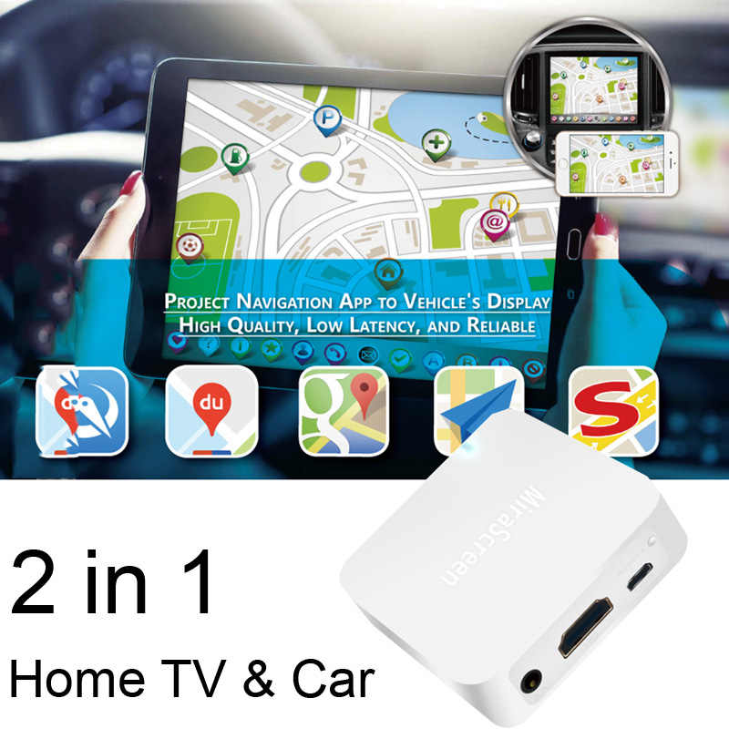 AV HDMI WiFi Display Dongle Screen Mirroring Box Cast Audio Video GPS Navigation for iPhone 11 Pro 8 iOS Android Phone to TV Car