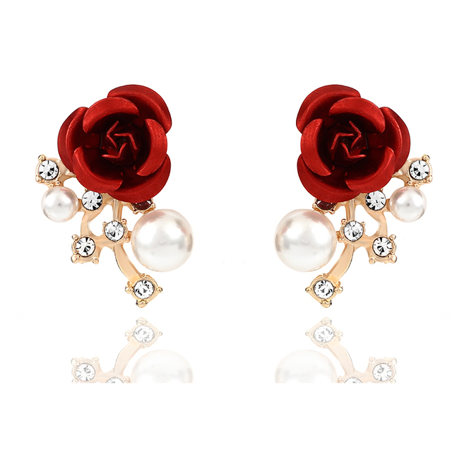 High qualit Red Blue Gold Beautiful Rose Flower Crystal Not allergic to  Gold-color Stud Earrings for Women Jewelry Trendy Style 61815d4755d8