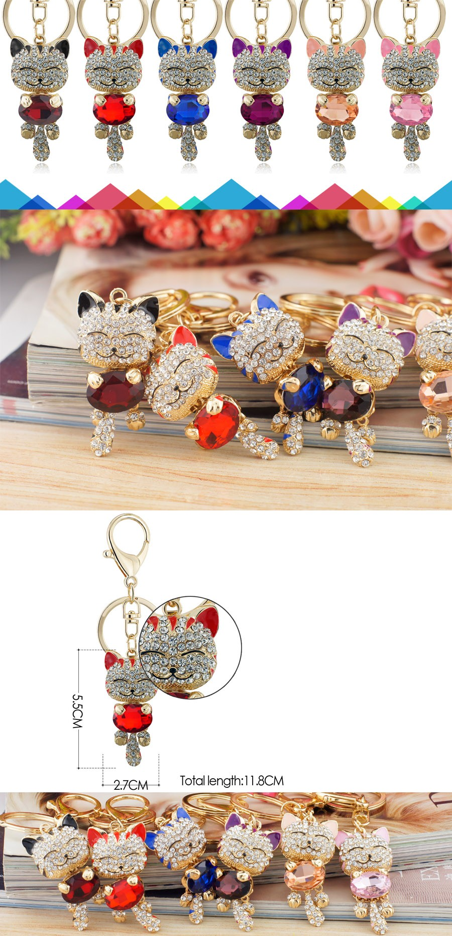 Lucky Smile Crystal Cat Keychains