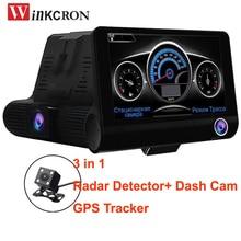 3 in 1 Car DVR Camera Radar Detector (Russian Version) GPS logger 4.0 Dual lens Full HD 1080P tachograph Traffic warning