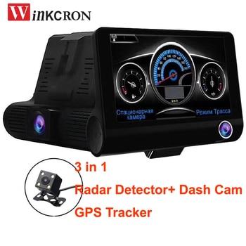 "3 in 1 Car DVR Camera Radar Detector (Russian Version) GPS logger 4.0"" Dual lens Full HD 1080P Camera tachograph Traffic warning"