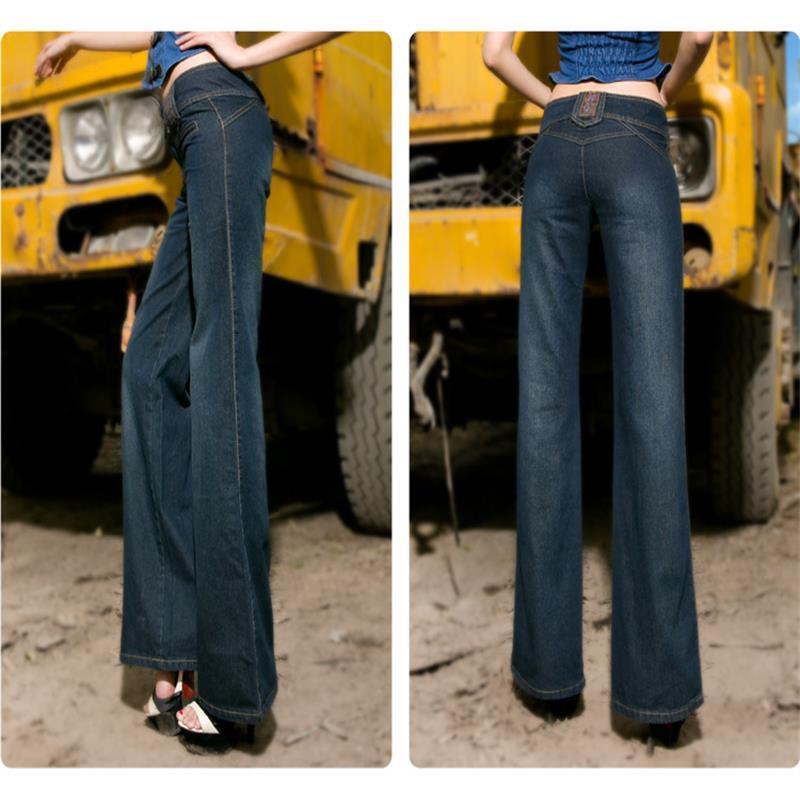 Высокое качество, продвижение размера плюс, женские джинсы с высокой талией, Широкие джинсовые штаны, расклешенные брюки