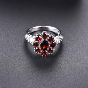 Image 3 - Hutang обручальные кольца с красным гранатом из стерлингового серебра 925 пробы, кольцо с натуральным драгоценным камнем, изящное элегантное ювелирное изделие для женщин, лучший подарок, Новинка