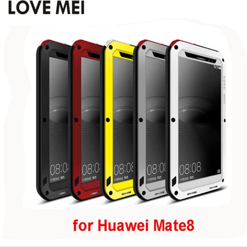 imágenes para AMOR de la Original MEI para Huawei Mate 8 Caso de Choque de Metal prueba de Vida A Prueba de agua de Metal Cubierta de Marco De Aluminio y Silicio Gorila vidrio