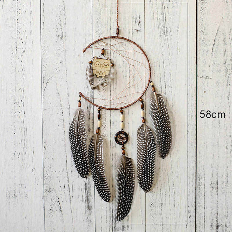 Handmade Hanging Dream Catchers with Feather Wooden Owl Home Decoration Ornaments Wedding Gift TN99