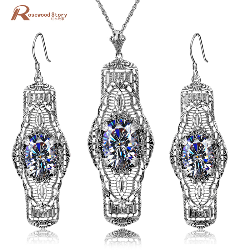 Fashion Antique 925 Silver Color Turkish Jewellery Set Ethnic Vintage White Zircon Jewelry Sets For Women Party Birthday GiftFashion Antique 925 Silver Color Turkish Jewellery Set Ethnic Vintage White Zircon Jewelry Sets For Women Party Birthday Gift