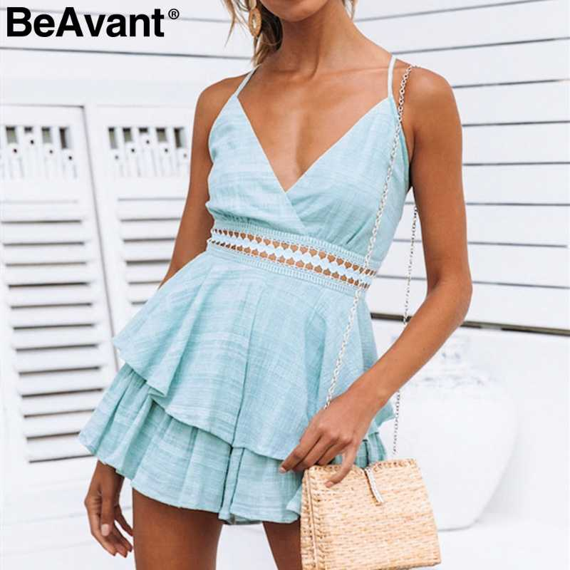 BeAvant сексуальный женский летний комбинезон с v-образным вырезом, комбинезон с открытой спиной и шнуровкой, хлопковый комбинезон, Короткий Повседневный женский пляжный комбинезон на бретелях 2019