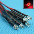 100pcs Flat top 3mm led DC12V/24V Pre Wired led water clear Red DIP LED 20mm cable prewired led