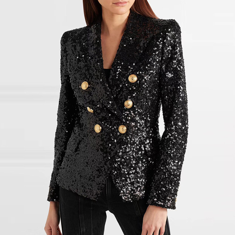 High Quality Black Sequin Blazers Women Gold Double Breasted Buckle Notched Neck Glitter Work Office Runway
