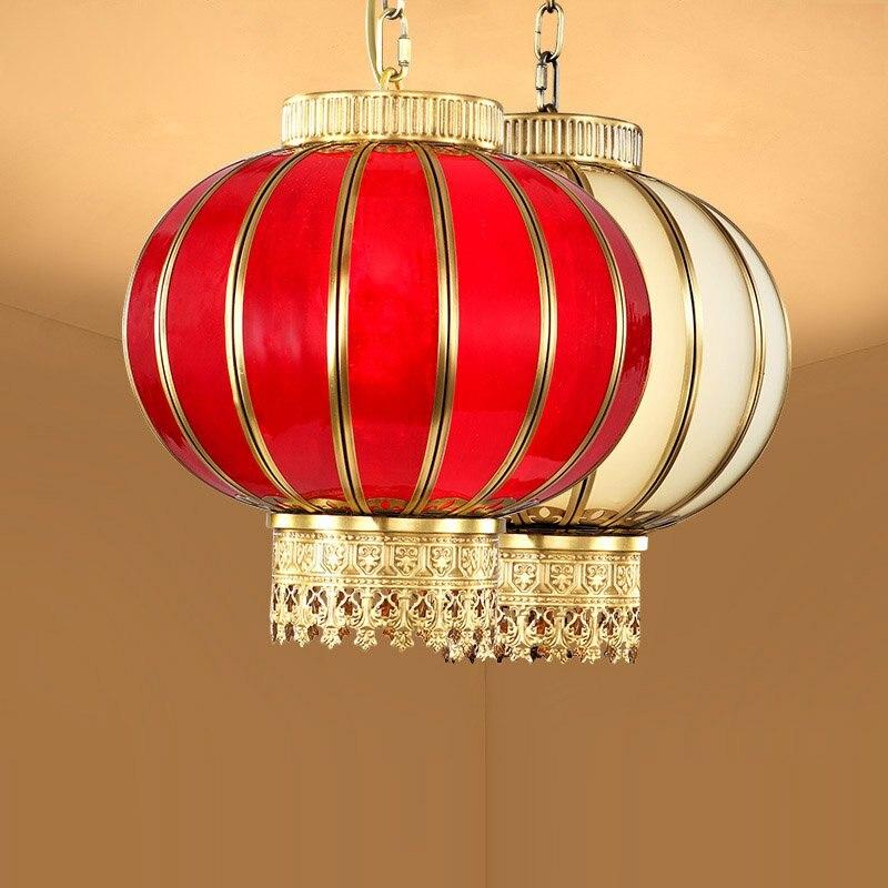 Solid Copper Round Lantern Dining Room Pendant Light Bedroom Romantic Pendant Lamp Bar Counter Restaurant Glass Hanging Fixtures