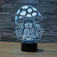 Novelty Creative Stylish 3D illusion LED Lovely Night Lights Cartoon Cute Mushroom House Atmosphere Lamp Lighting free shipping