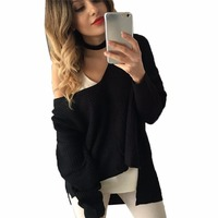 Fashion Women Long Sleeve Cardigans Irregular Solid Sweater Loose V Neck Pullovers Sweaters Jumper Outwear Jacket