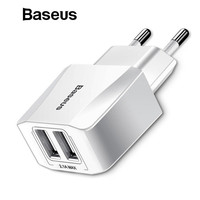 Baseus Dual USB Charger, Mobile Phone EU Charger Plug Travel Wall Charger Adapter For iPhone iPad Samsung Xiaomi Phone Charger Mobile Phone Chargers