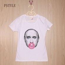 Casual T Shirts Short Sleeve Graphic O-Neck Womens Putin Blow Bubble Funny Professor Tees T-shirt Tshirt Brand PSTYLE