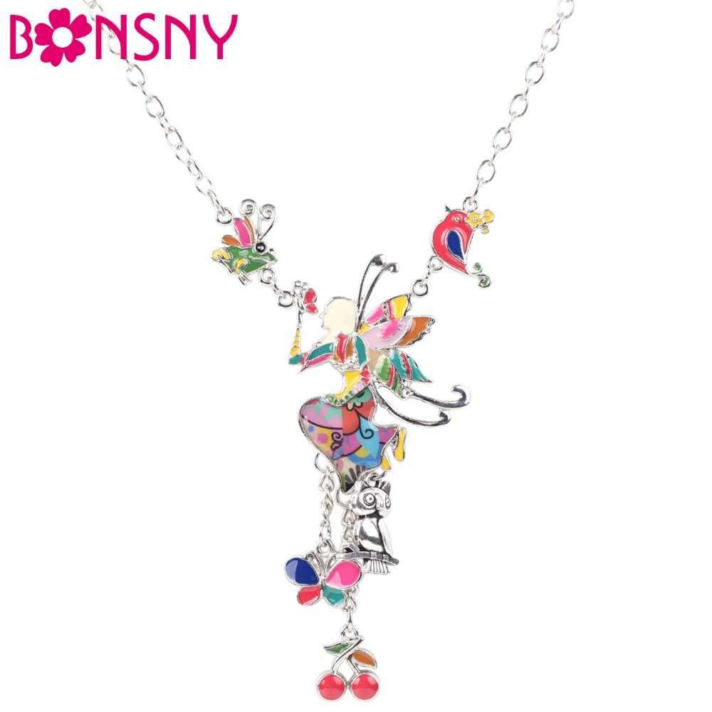 Bonsny Maxi Alaşım Kelebek Peri Emaye Takı Renkli Kolye 2016 Yeni moda takı Kadınlar Için Bildirimi Charm