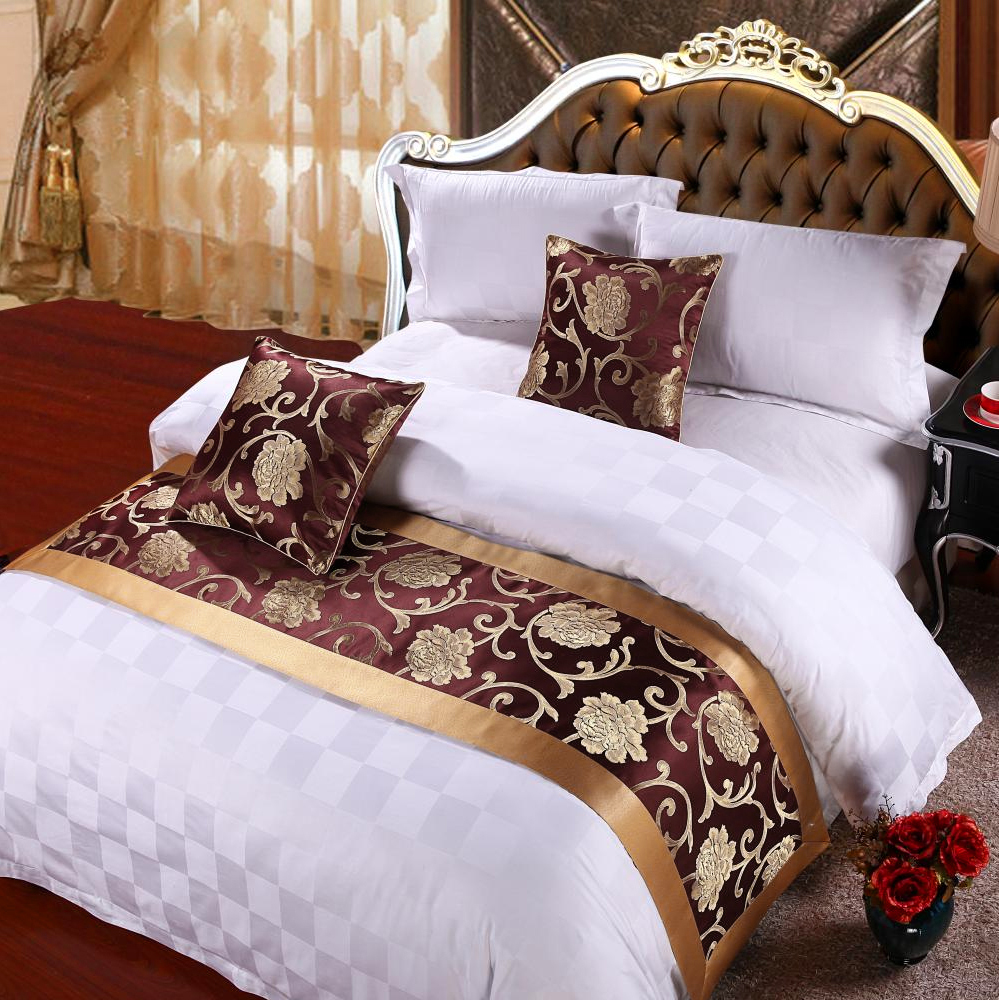 Yazi Peony Flower Double Layer Bed Runner Scarf Home Hotel