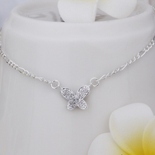 Wholesale Free Shipping silver plated Anklets,silver plated Fashion Jewelry Insets small butterfly Anklets SMTA008