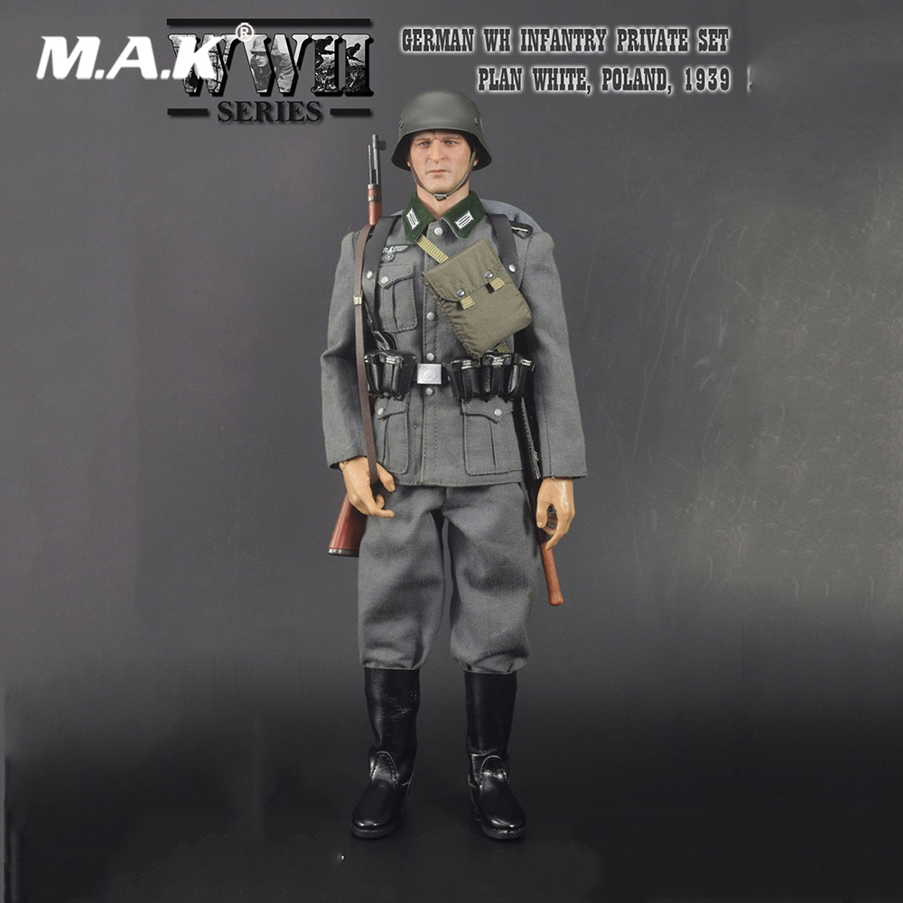1/6 Action Figure Accessory WWII German WH Infantry Private Clothes Set PLAN WHITE Poland 1939 #68015 Model for 12'' Figure 1 6 scale light machine weapons model wwii german maschinengewehr 34 gun model toys for 12 action figure body accessory
