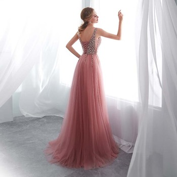 Beading Evening Dress 2020 V-Neck Pink High Split Tulle Sweep Train Sleeveless Prom Gown A-line Lace Up Backless Vestido De