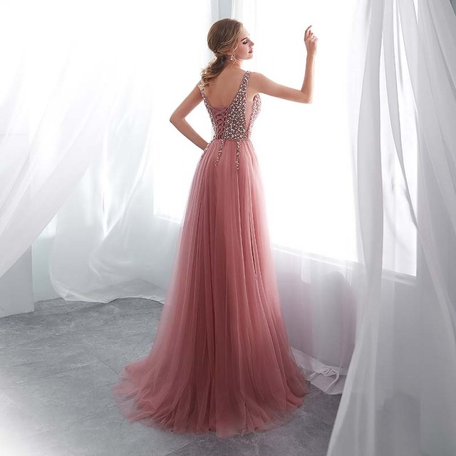 Beading Evening Dress 2020 V-Neck Pink High Split Tulle Sweep Train Sleeveless Prom Gown A-line Lace Up Backless Vestido De 1