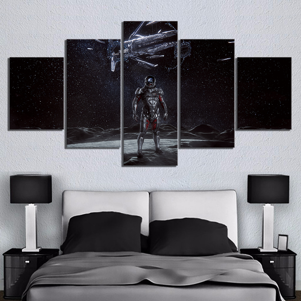 5 Piece Canvas Paintings Mass Effect Andromeda Game Poster Artwork Wall Paintings for Home Decor Wall Art image