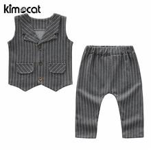 цена на Kimocat Baby Boy's Wear 2019 Autumn New Boys Handsome British Wind Set Children Plaid Vest+Trousers Gentleman Suit Clothing Sets