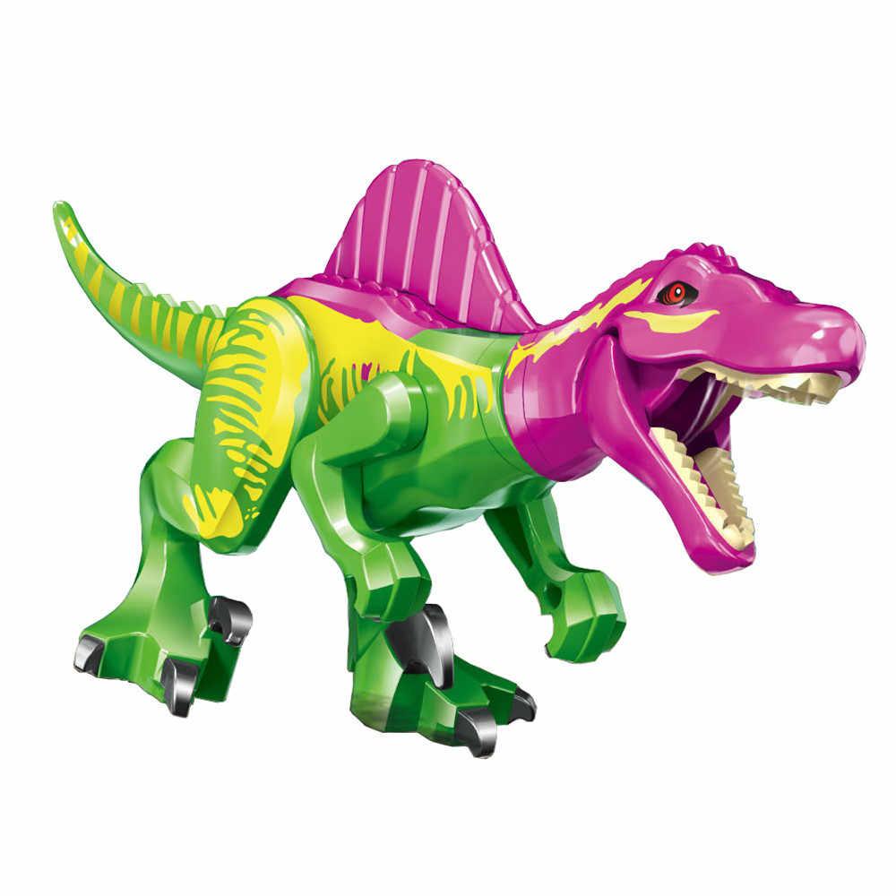 Single Dijual Jurassic Taman Dunia Dinosaurus Tyrannosaurus Rex Raptor Bangunan Blok Batu Bata Angka Tindakan untuk Anak-anak Mainan Hadiah