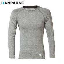 Новое поступление KANPAUSE Для мужчин, облегающее платье с длинным рукавом, футболка для бега спортивная одежда