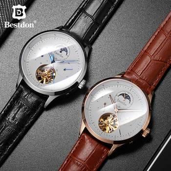 цена Bestdon Tourbillon Watch Men Automatic Mechanical Top Luxury Brand Fashions Leather Moonphase Watches Man Relogio Masculino 7145 онлайн в 2017 году