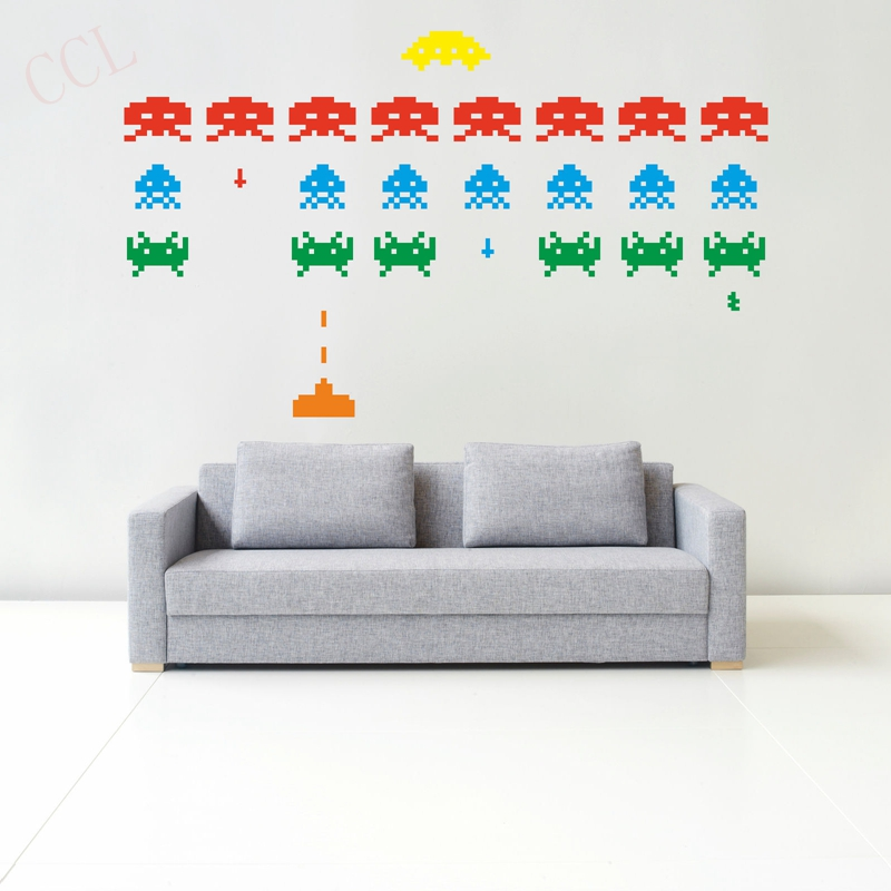 Gamer Vinyl Stickers Space Invaders Video Game Play Room Wall Decal In Wall Stickers From Home