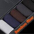 Alta calidad de los hombres calcetines 2016 nuevos calcetines de fibra de bambú de los hombres calcetines primavera calcetines hombre hombre de negocios meias meia 5 pair regalo caja