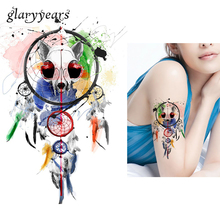 1pc DIY Body Art Temporary Tattoo KM-085 Colorful Drawing Dreamcatcher Feather Decal Waterproof Tattoo Sticker Women Gift