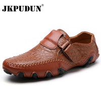 JKPUDUN Handmade Genuine Leather Mens Shoes Casual Luxury Brand Men Loafers Fashion Breathable Driving Shoes Slip