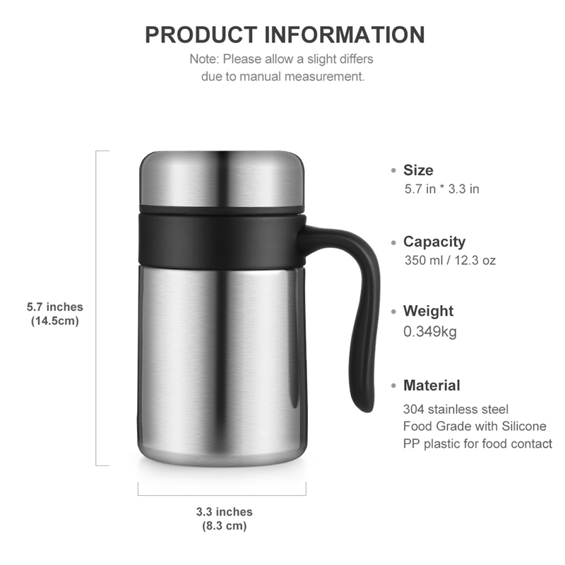 oneisall 350ML 304 Stainless Steel Thermos Mugs Office Cup Handle Lid Thermal Insulation Tea Mug Vaccum Cup Office Thermoses in Vacuum Flasks Thermoses from Home Garden