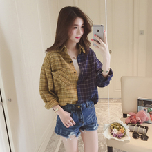 New Spring Women Fashion Personality Retro Color Patchwork Plaid Blouses Shirts Long Sleeved Polo Collar Loose Long Blusas Tops