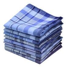 5 шт./лот, квадратные клетчатые полосатые носовые платки для мужчин, классический винтажный Карманный платок, Хлопковое полотенце для свадебной вечеринки, 38*38 см, случайный выбор