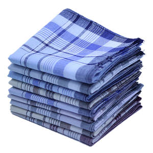 Hanky Towel Handkerchiefs Plaid Cotton Wedding Pocket Stripe Men for Party 38--38cm Random