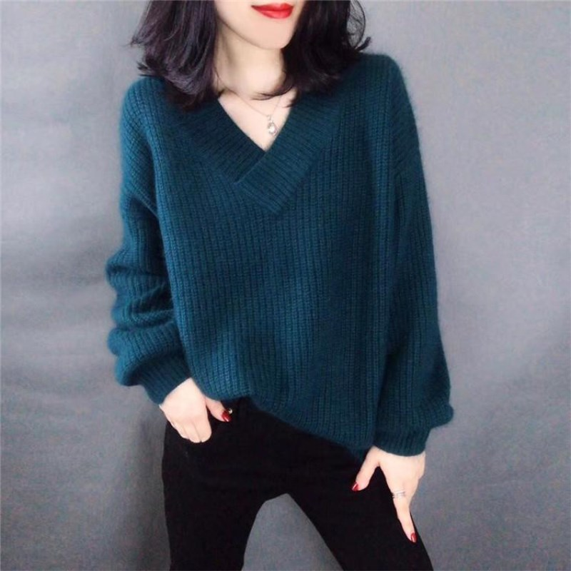 New pure Cashmere Sweater Female Wear Pullover Sweater V collar Loose Casual Lazy Sweater Lantern Sleeve