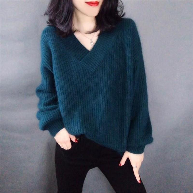 새로운 순수 캐시미어 스웨터 여성 의류 풀오버 스웨터 v 칼라 느슨한 캐주얼 게으른 스웨터 랜턴 슬리브-에서풀오버부터 여성 의류 의  그룹 1
