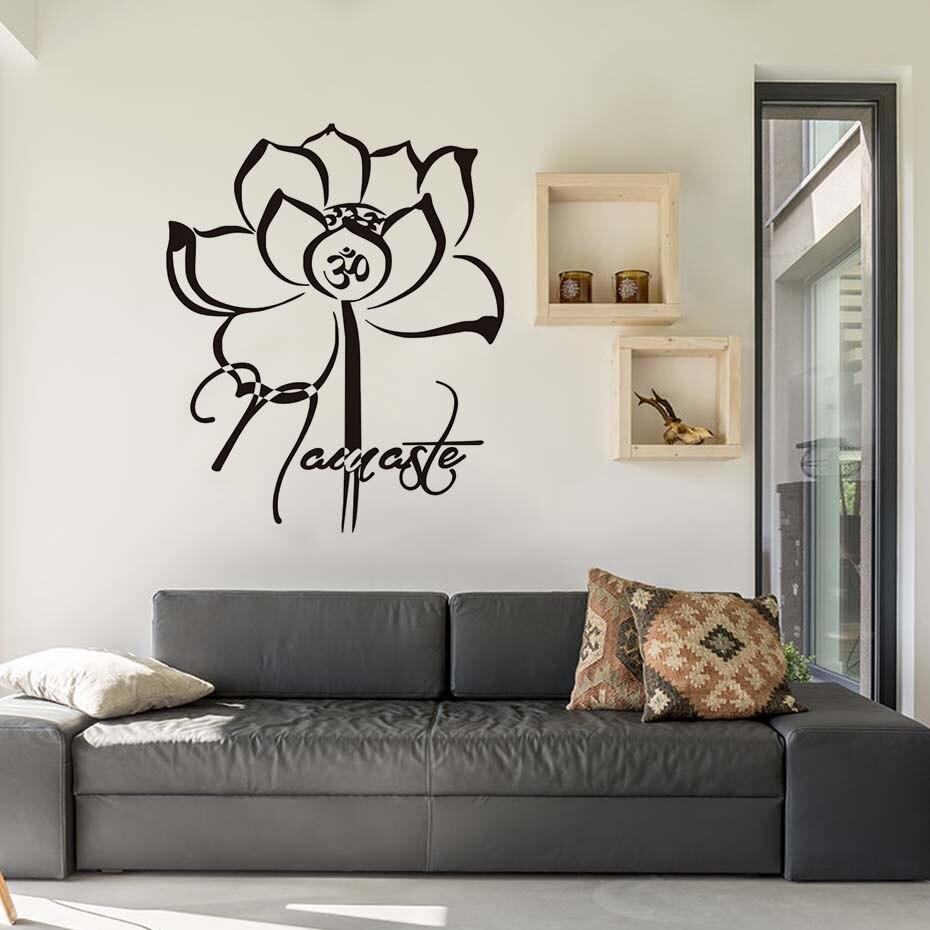 Living Room Decorative Lotus Namaste Wall Stickers Buddhism Believer ...