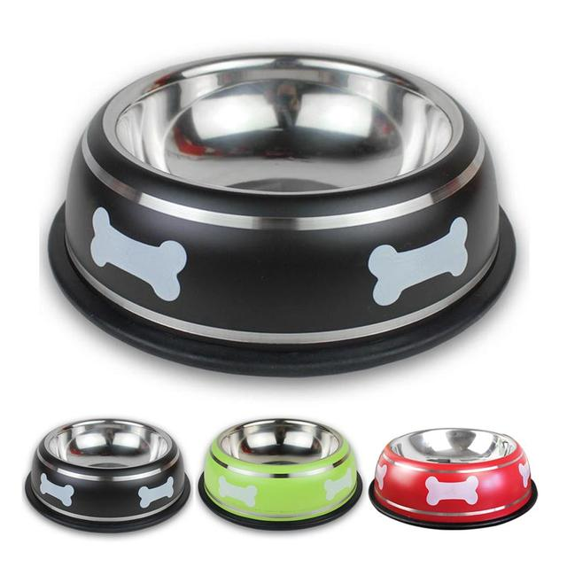 Stainless Steel Dog Cat Bowl Bone Printed Pet Dogs Feeding Bowls Puppy Food Drink Water Dish Cat Feeder