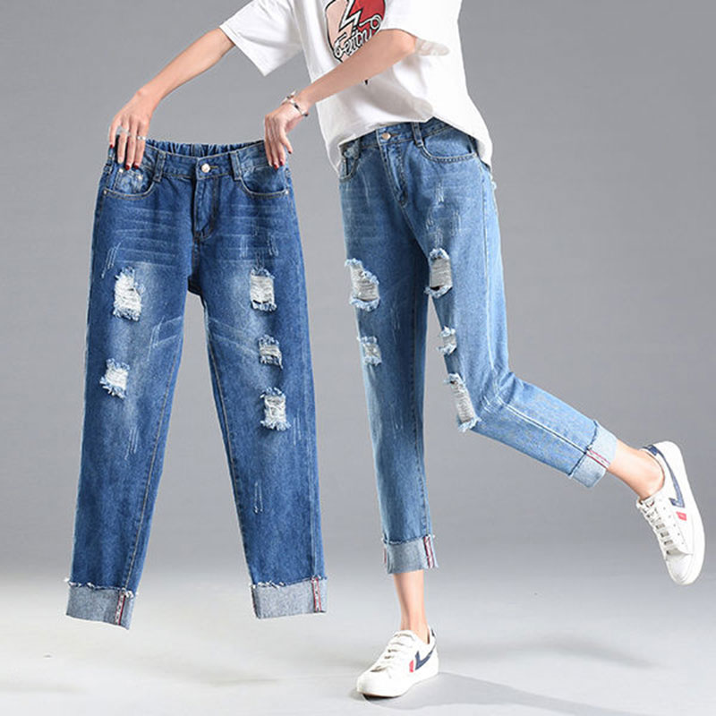 Plus Size Women Ripped   Jeans   Boyfriend Style Denim   Jeans   For Woman Streetwear High Waist Ankle-length Pencil Pants P023
